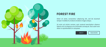 Forest Fire Web Poster with Inscription. Vector