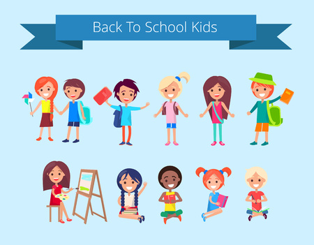 Back to School Kids Isolated illustration Illustration