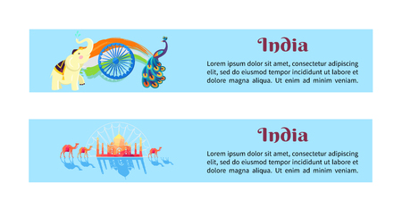 India Set of Posters with Symbols of Country Reklamní fotografie - 90041727