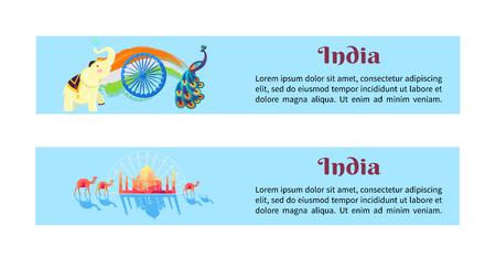 Indien-Satz Plakate mit Symbolen des Landes Standard-Bild - 90041727