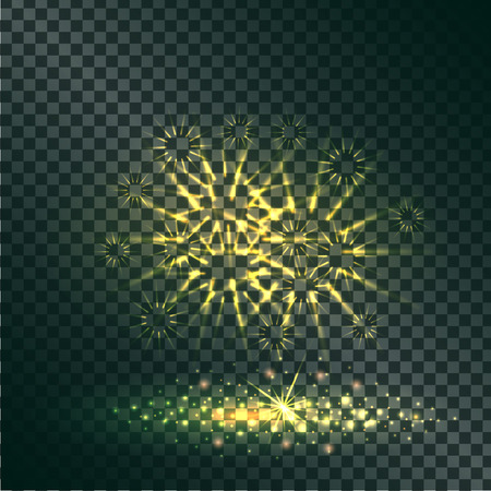 Yellow Explosion of Pyrotechnics on Transparent Illustration