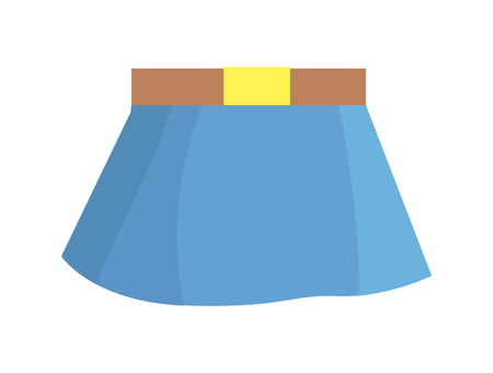 Blue Skirt with Brown Belt on White Background