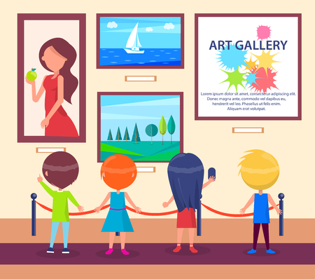 Children Visiting Art Gallery and Look at Pictures