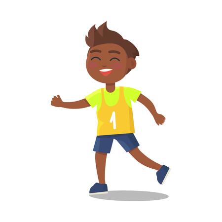 番号を 1 つのスポーツのユニフォームでインド少年