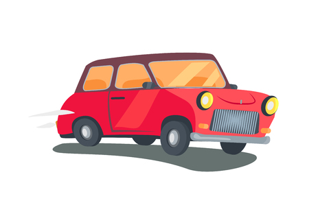 Icon of Red Retro Two-Door Station Wagon Vector Illustration