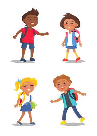 Cheerful School Children Isolated Illustrations