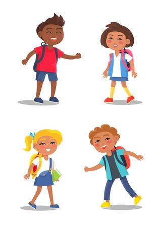 Veselé školní děti izolované ilustrace