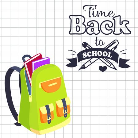 Time Back to School Poster Rucksack on Leaflet Stock fotó - 90179821