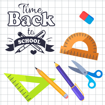Time Back to School Inscription with Logo Vector