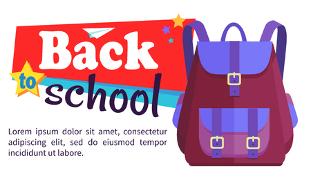 학창 시절 배낭을 들고 학교 포스터로 돌아 가기 일러스트
