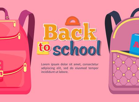 아이들을위한 배낭이있는 학교 포스터 돌아 가기