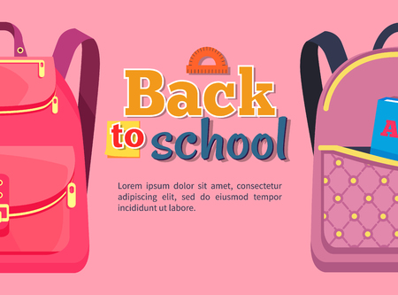 Back to School Poster with Backpacks for Children 向量圖像