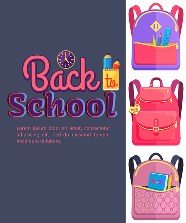 Backpack for Child School Stationery Accessories Stock Vector - 90179826
