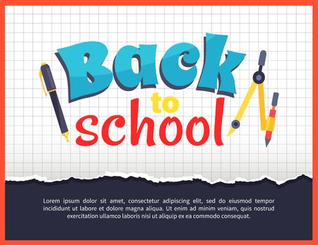 Terug naar school Poster op geruite achtergrond Stock Illustratie
