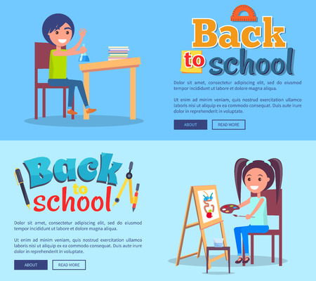 Back to School Poster Set with Girl and Boy Vector