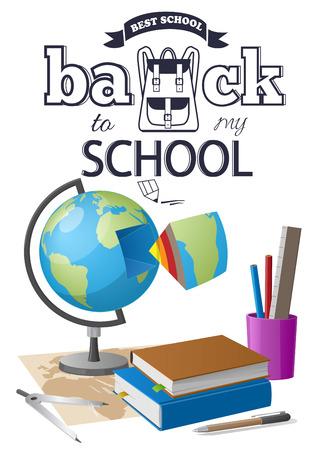 Back to School Sticker with Black-and White Text Ilustração