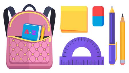 Roze rugzak met zak aan de achterkant met ABC-boek Stock Illustratie