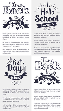 School Related Set of Black and White Stickers
