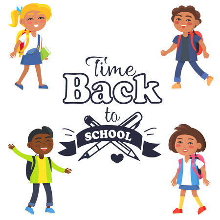 Back to School Time Sticker Surrounded by Pupils