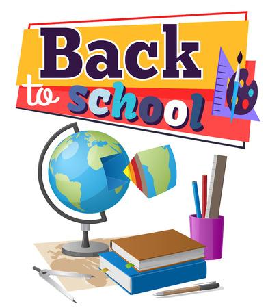 Back to School Sticker with Educational Supplies Illusztráció