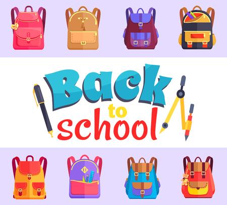 Volver a la etiqueta engomada del estilo de dibujos animados de mi escuela con bolsas Foto de archivo - 90182632