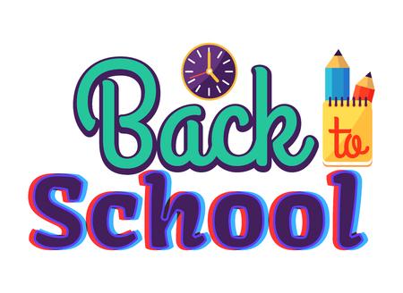 Etiqueta engomada de estilo de dibujos animados de regreso a la escuela con texto Foto de archivo - 90179859