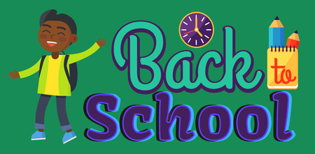 Back to School Sticker with Inscription and Boy