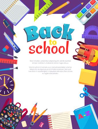 Terug naar school Poster met plaats voor tekst in frame Stock Illustratie