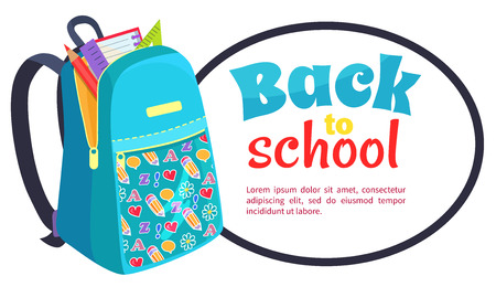 Back to School Poster with Fashionable Backpack Illustration