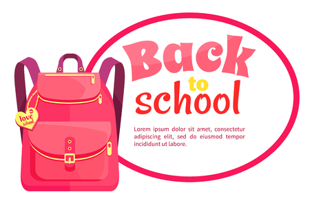 Rucksack for Girl in Pink Colors with Inscription