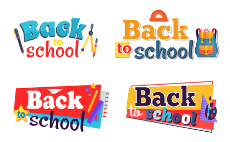 Back to School Stickers Set with Stationary Objects Ilustracja