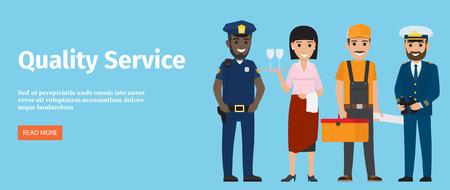 Qualitätsservice von 4 Berufen, isoliert auf Blau Standard-Bild - 90179873