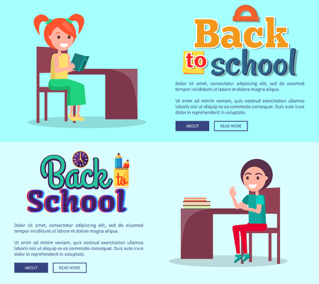 Back to School Cartoon Style Posters on Light Blue Banco de Imagens - 90145816