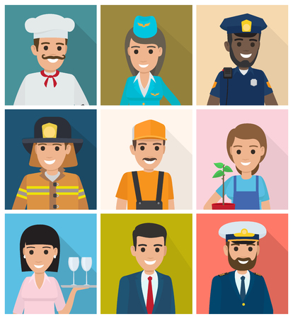 Set of Professions. Nine Square Icons Flat Design Illustration