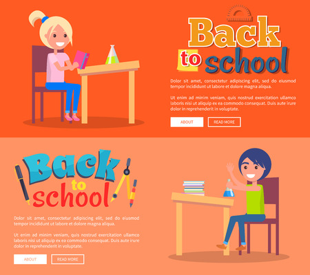 Back to School Posters Set with Girl and Boy