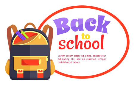 Back to School Poster with Backpack for Child Icon Ilustracja