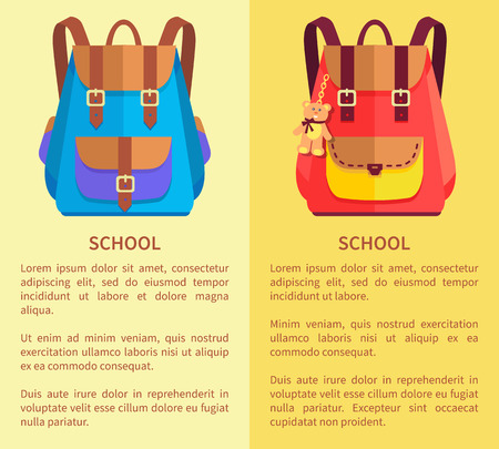 School Rucksacks for Boys and Girls Blue and Pink
