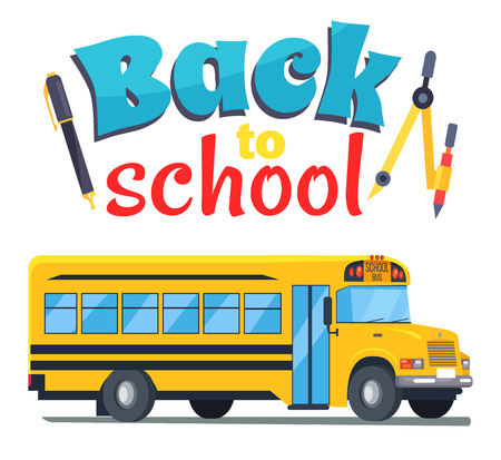Back to School Sticker with Bus Isolated on White