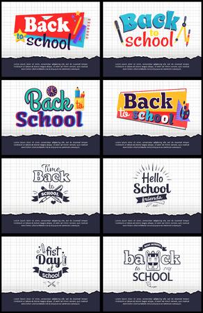 学校関連の漫画のステッカーのコレクション  イラスト・ベクター素材