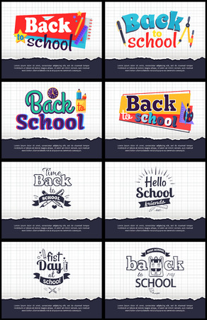 Collection of School-Related Cartoon Stickers Illustration