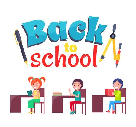 Back to School-poster met stationair en leerlingen