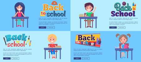 Back to School Collection of Posters with Pupils