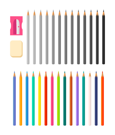 Stationery Illustration with Icons Various Pencils Illustration