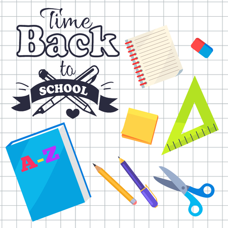 Time back to school inscription with logo made of two pens, stationery set ABC book, pencils and scissors, plastic triangular ruler and rubber on checkered leaflet
