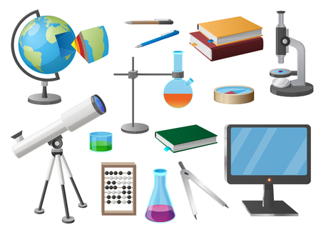 Set of Various School Objects Cartoon Illustration