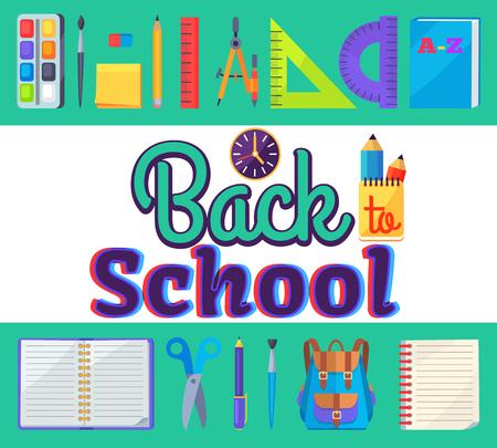 Terug naar school banner met leren accessoires als tassen, pennen en potloden, verschillende linialen, klok en kompas divider vector illustratie sticker Stockfoto