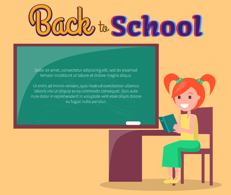 Back to School Poster with Redhead Girl Profile Stok Fotoğraf