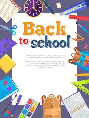 Terug naar school banner met leren accessoires zoals tassen, pennen en potloden, verschillende linialen, klok en kompasverdeler vectorillustraties met plaats voor tekst Stockfoto