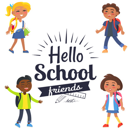 Hello School Friends Sticker with Pupils Vector