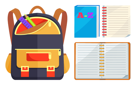 Backpack for child with school stationery accessories pencils and ruler in back pocket and open ABC copybook vector illustration isolated on white.